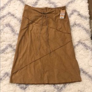 Rachel Roy Camel Suede High Rise Skirt